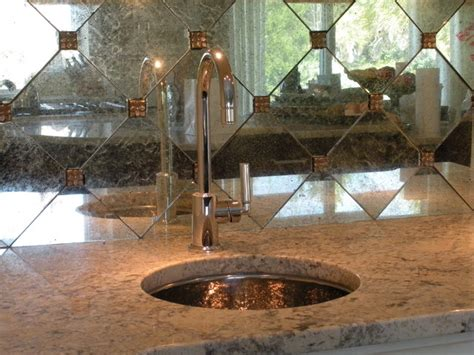 silvered glass backsplash tiles traditional