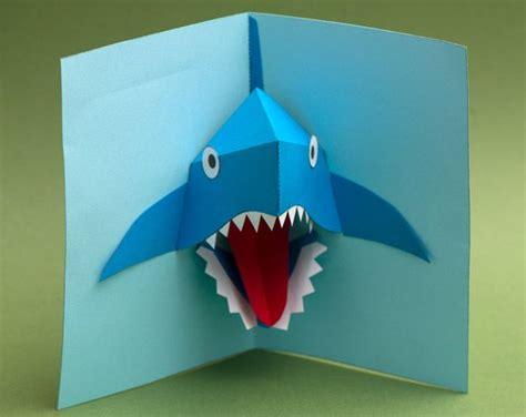 shark pop up card template shark attack www robives books