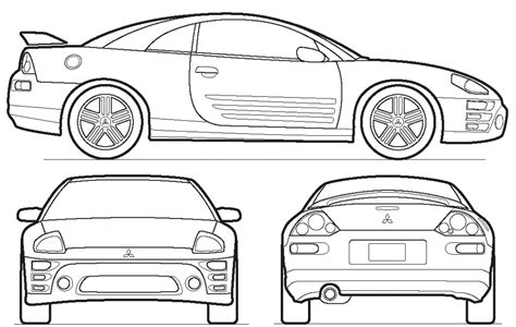 mitsubishi eclipse drawing car blueprints 2003 mitsubishi eclipse coupe blueprint