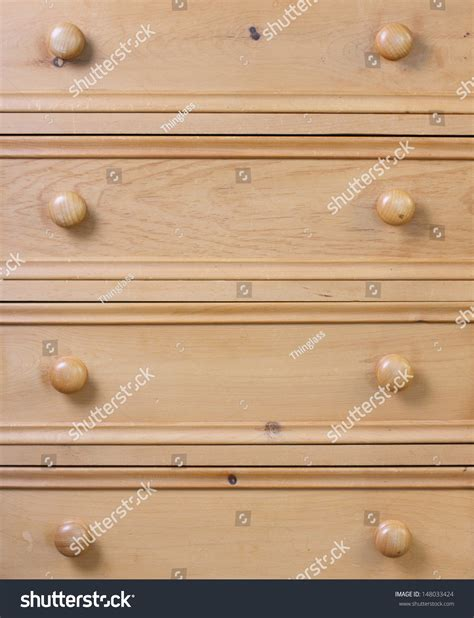 Close Up Of A Used Chest Of Drawers Made From Pine Wood