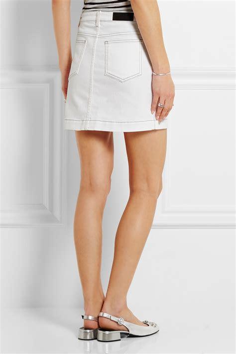 rykiel stretch denim mini skirt in white lyst