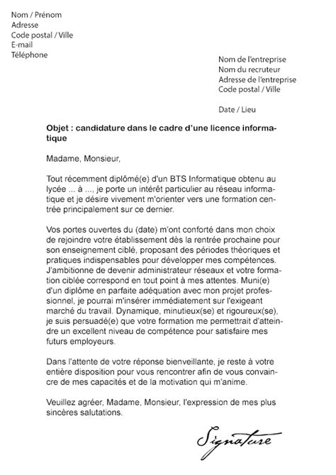 Lettre De Motivation Stage Technicien Informatique Lettre De Motivation Licence Informatique Mod 232 Le De Lettre