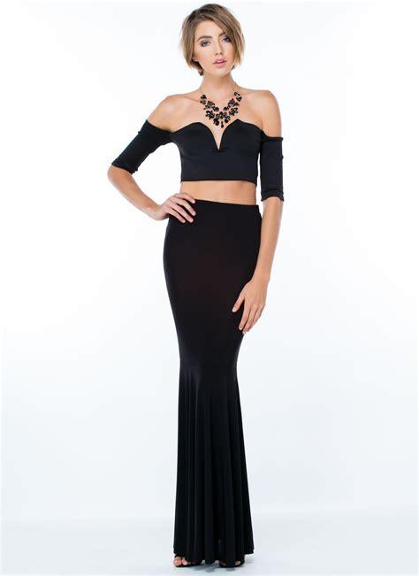 flared mermaid maxi skirt black gojane