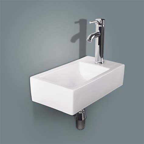 Chrome Sink by Bathroom Ceramic Vessel Sink Wall Mount Rectangle White