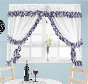 Blue Gingham Kitchen Curtains Navy Blue White Gingham Check Frill Kitchen Curtain Set Ebay