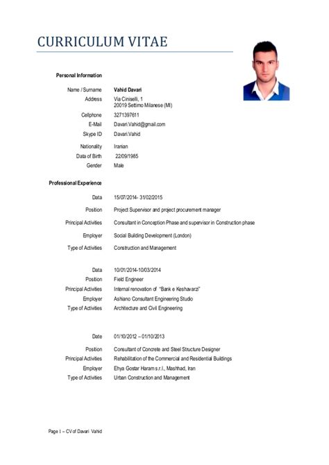Resume Cv Name 20 02 2015 Cv Vahid Science Format