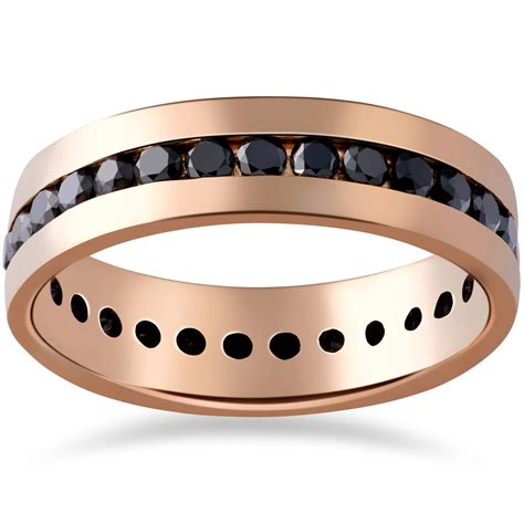 ct black diamond channel set eternity ring  rose
