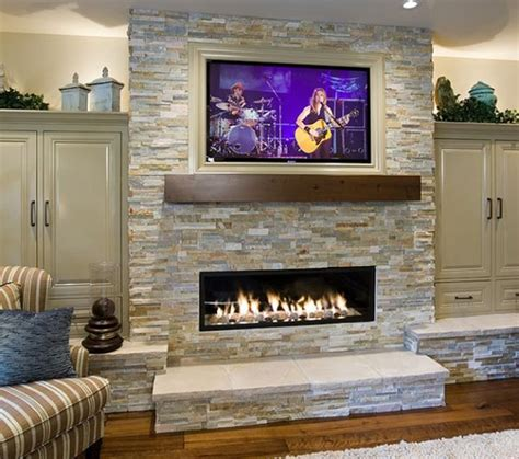 Flat Screen Tv Mounted Fireplace by Linear Fireplace With A Flat Screen Tv On Top Linear