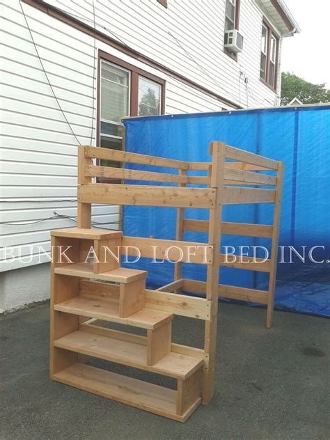 Stairs For Bunk Bed by Size Heavy Duty Loft Bed With Stair Shelf Ebay