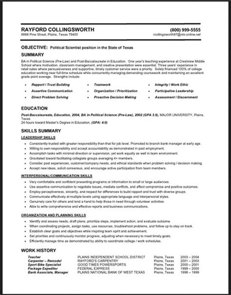 exle of a functional resume resume format