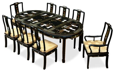 84in black lacquer pearl figure motif oval dining table