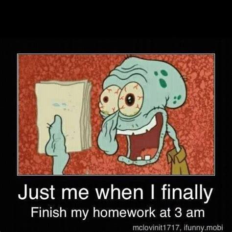 Spongebob Homework Meme - funny spongebob squarepants squidward homework schoo