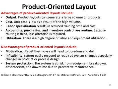 product layout merits and demerits facility layout
