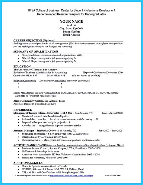 resume sles for college students accounting best current college student resume with no experience