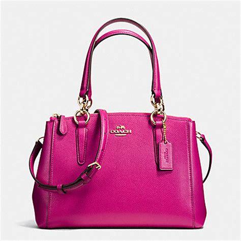 Bag Coach Christie Pink 100 Original coach f36704 mini christie carryall in crossgrain leather imitation gold cranberry coach