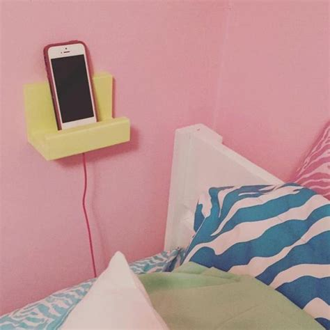 cell phone charging shelf wall phone holder stocking stuffer charging station teen dorm gift idea for her phone