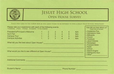 open house survey cards jesuit high school - Survey For Gift Card