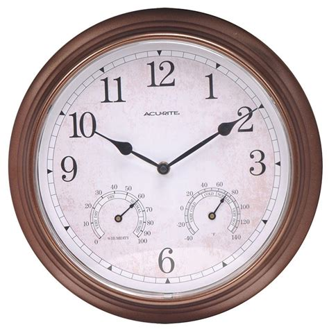 Thermometer Analog acurite 13 in copper analog clock thermometer hygrometer