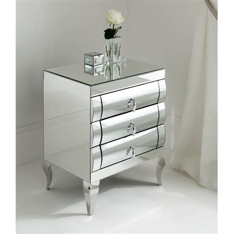 bedside drawers rimini mirrored bedside 3 drawer