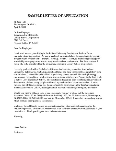 Examples Of Letters For Teaching Jobs   Cover Letter Templates