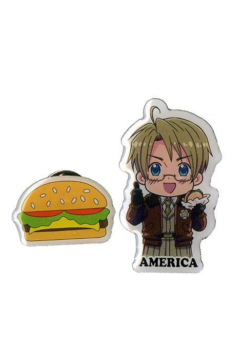 hot topic anime pins hetalia axis powers america burger pin set hot topic