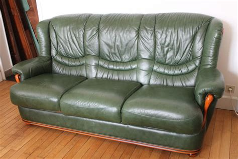 canape cuir vert canap 233 cuir vert bouteille clasf