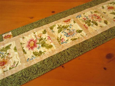 Patchwork Table Runner - table runner handmade table runner floral quilted