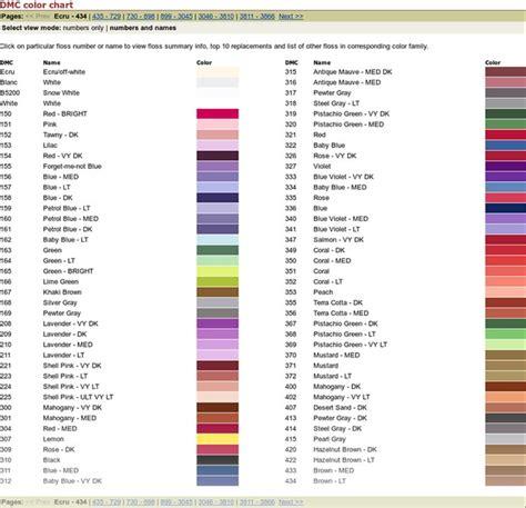 dmc color chart dmc color chart crosses colour chart