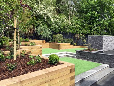Sloping Garden Design Ideas Uk Modern Sloping Garden With Feature Koi Pond Lush Garden Design