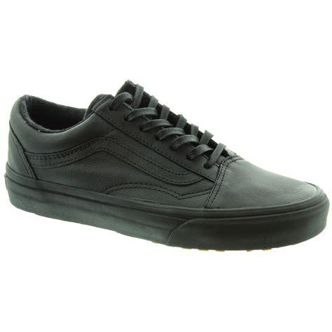 black leather vans shoes vans old skool leather lace shoes in all black in black black