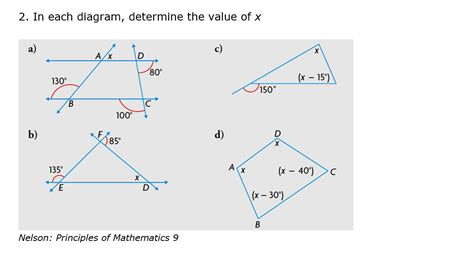 in each diagram determine the value of x chegg