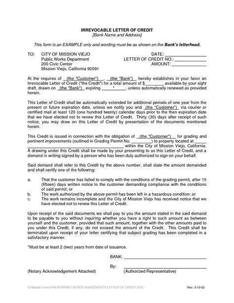 irrevocable letter of credit template bank letter of credit template best business template