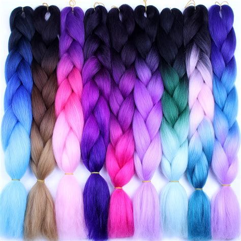ombre synthetic braiding hair falemei three tone color crochet hair extensions kanekalon