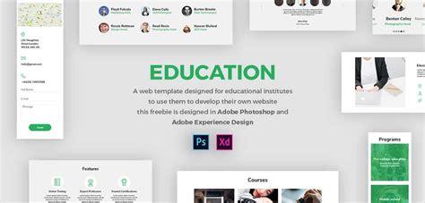 Free Education Web Template Xdguru Com Free Xd Templates
