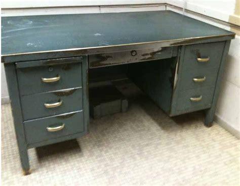 antique metal steel desk steampunk industrial brass deco