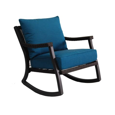 rocking patio furniture shop allen roth netley brown wicker rocking patio conversation chair with a sea blue