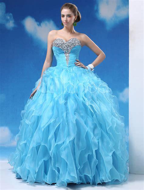 Blue Sky Quinze Dress light sky blue gown floor length quinceanera dress