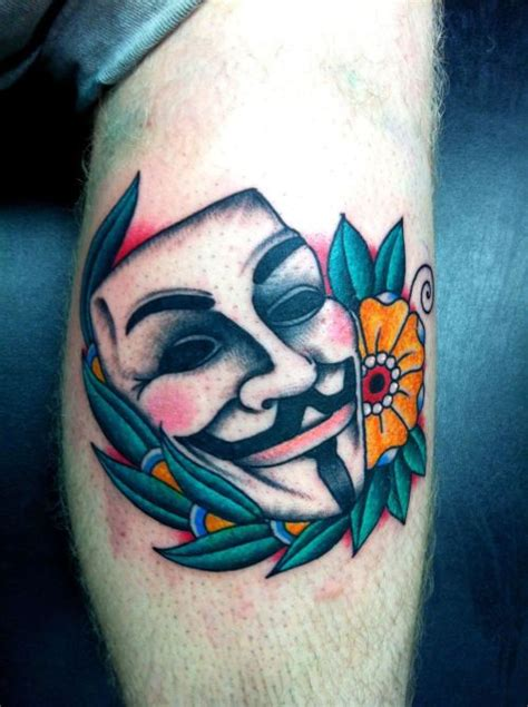 guy fawkes tattoo v for vendetta tattooed in 2011
