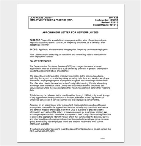 Appointment Letter Content Appointment Letter 22 Sles In Word Doc Pdf Format