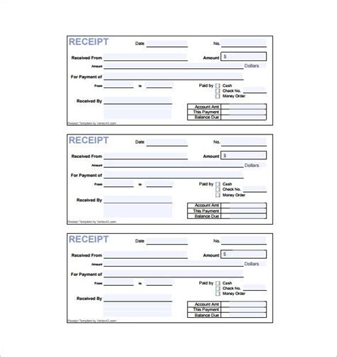 templates for receipts invoice receipt template 8 free sle exle format
