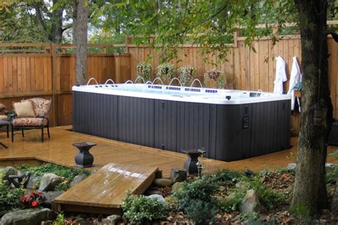 Spa Patio Designs by Dynasty Spas Swim Spas Traditional Patio Toronto