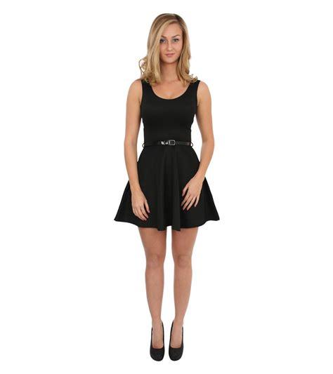 ellie sleeveless belted skater dress in black pilot