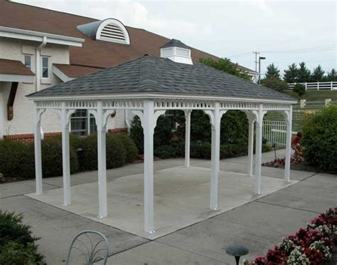 vinyl single roof rectangle gazebos gazebos by material