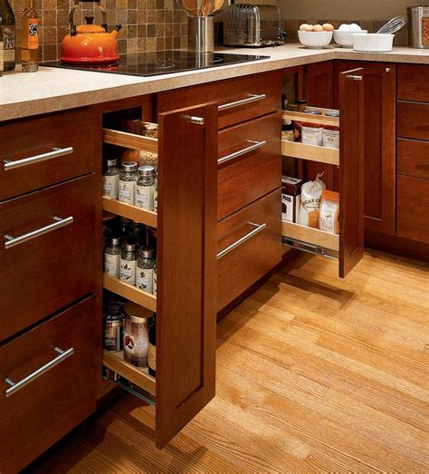 spice drawers kitchen cabinets storage solutions details base pantry pull out