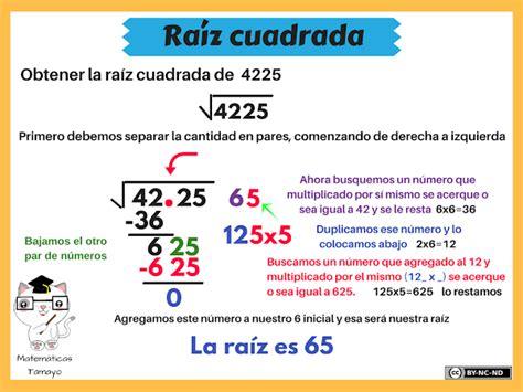calcula la raiz cuadrada ra 205 z cuadrada matem 225 ticas tamayo