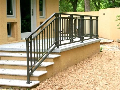 outdoor banister wrought iron and wood exterior front porch railing deck