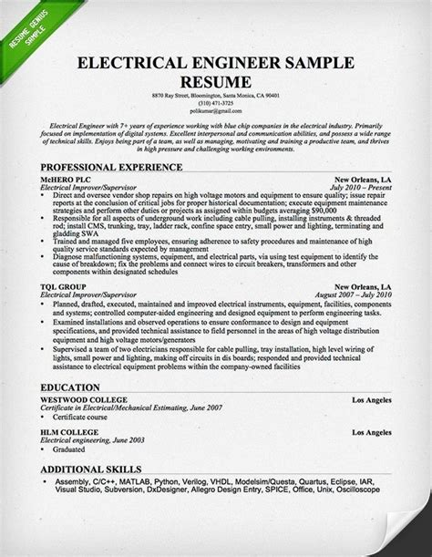 Best Engineering Resume Samples by Sample Engineering Resume The Best Resume