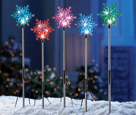 set of 5 color changing solar snowflakes outdoor