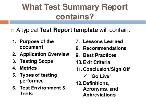 test closure report template software testing report