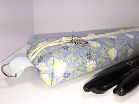 Floral Print Pencil Pouch soft blue floral print boxy pencil slim pencil pouch